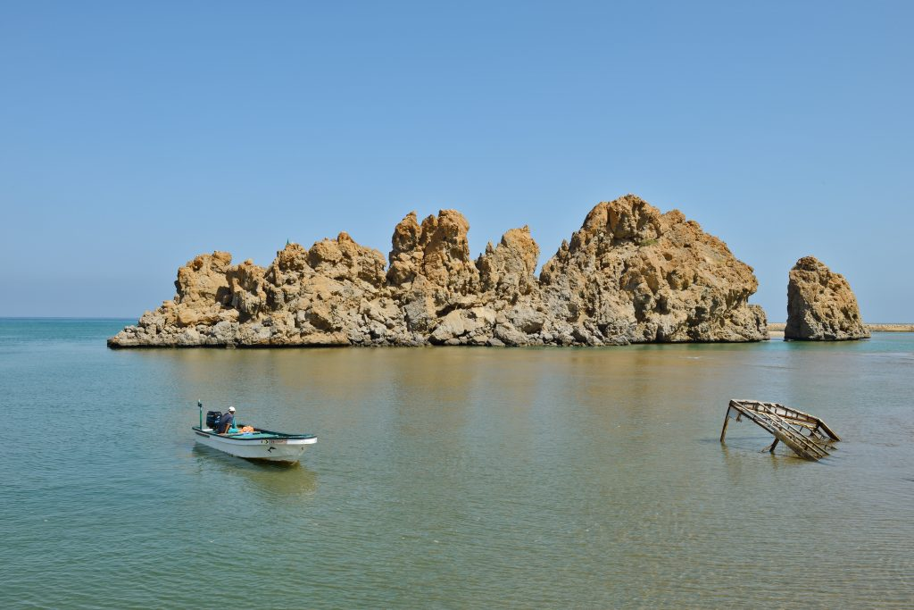 Beaches View of the boat at the Yiti beach Muscat Oman
