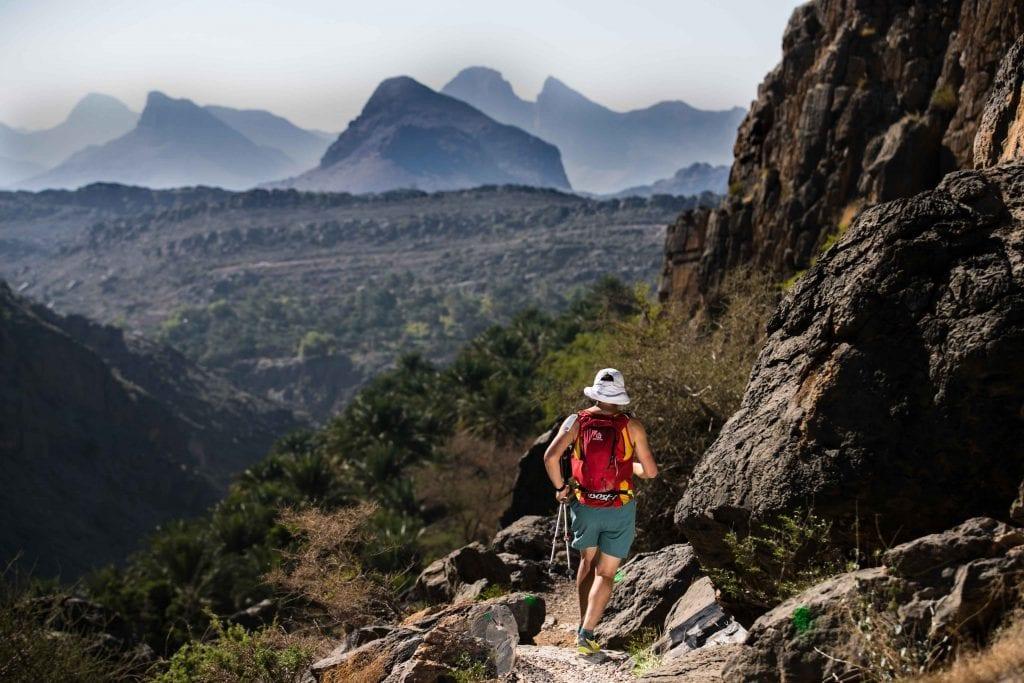Mountain hiker walking