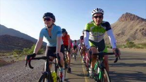 Bike riders on road